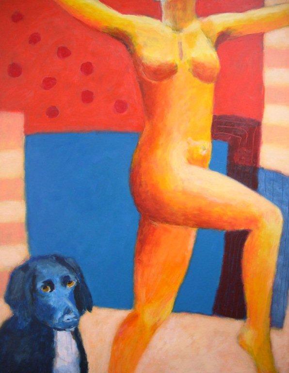 vrouw met blauwe hond, acryl op paneel, 90 x 70.jpg